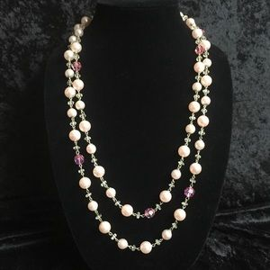 """Jewelry - 2 tone pink 56"""" strand necklace h013"""